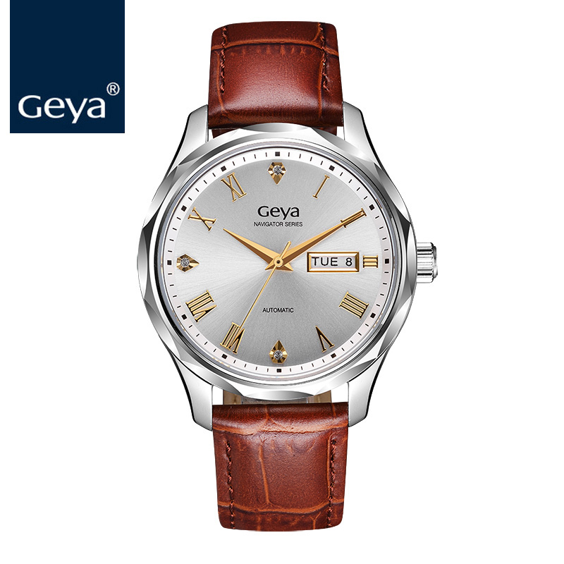 Geya 2018 New Fashion Men Mechanical Sapphire Crystal Watch Water Resistant Watch Top Luxury Brown Fully Automatic Wristwatch стоимость
