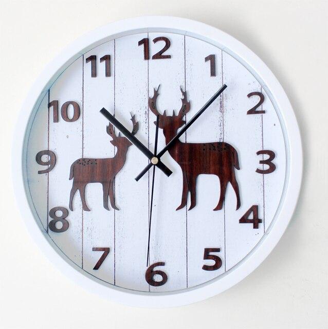 Canadian Quebec Style Elk Deer Head Wall Clock Reindeer Moose Watch Home Decoration