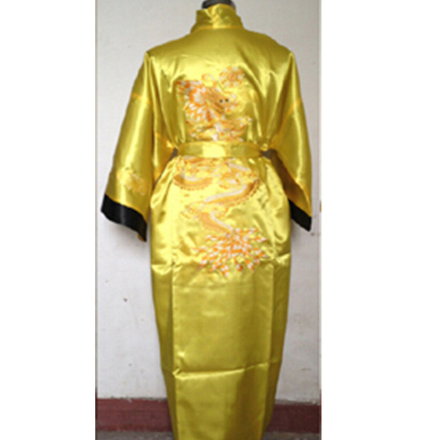 adcb983f18 Free shipping Yeller black Reversible Two-face Chinese Men s Silk Satin  Robe Embroidery Dragon Kimono Bath Gown Many Colors SZ-2