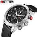 Curren mens relógios top marca de luxo dos homens casuais relógio de quartzo dos homens pulseira de couro à prova d' água esportes relógios relogio masculino 8193