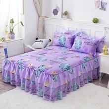 цены на 3PC Elegant Floral Fitted Sheet Cover Pastoral Bed Skirt Solid Bed Cover Sheets Bed Bedspread Lace Bed Sheet Home Bedding Decor  в интернет-магазинах