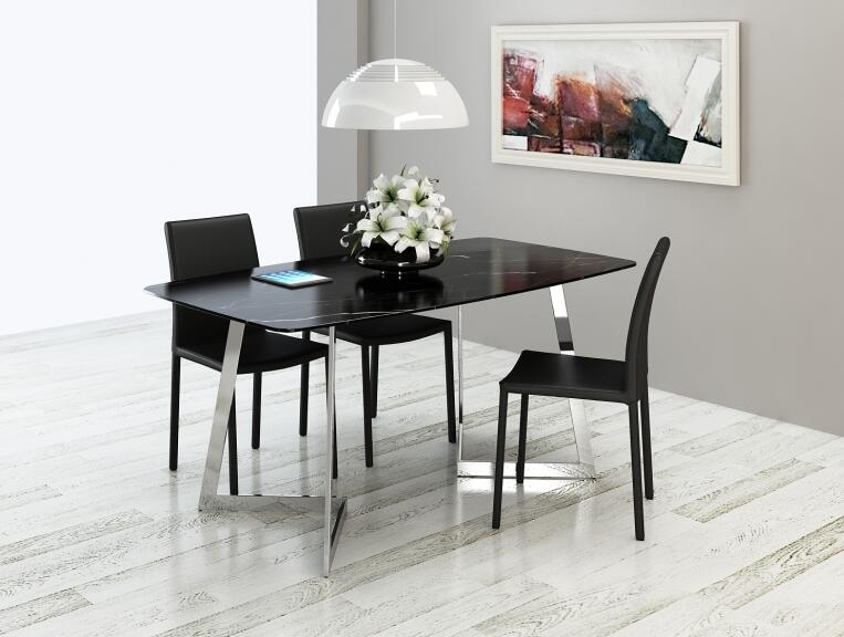 Фото Marble dining table and chair combination. Stainless steel table.