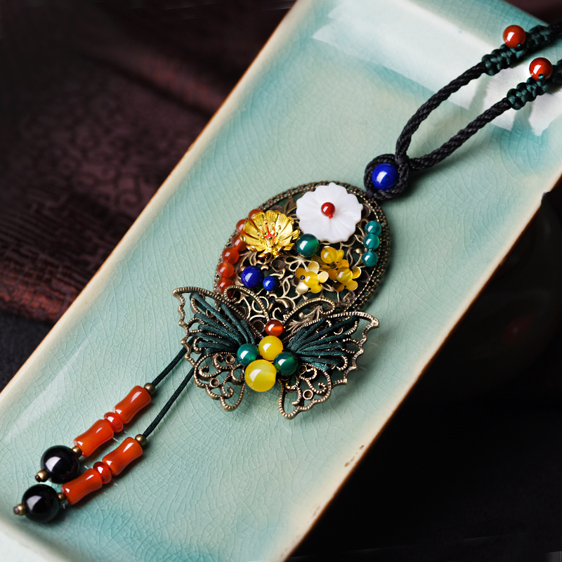 Slatka džemper vintage ogrlica za žene dugi konopac lanac brončane - Modni nakit - Foto 3