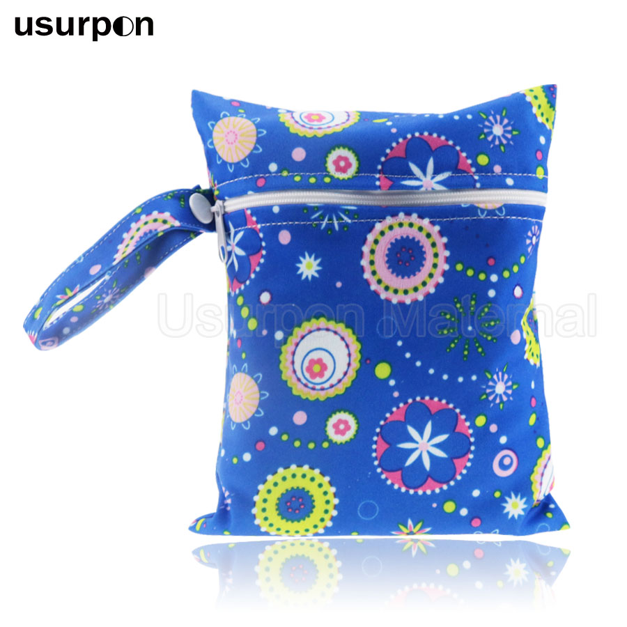 [usurpon] 1 Pc 15*20cm Small Size Wet Bag Waterproof Printed Pul Fabric Wet Bag, Mini Washable Mom Nursing Pad Bag
