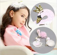 Delicate Cute Cartoon Swan Hairpins kids Hair Clips Princess Barrette Girls Accessories Children Headwear  J12