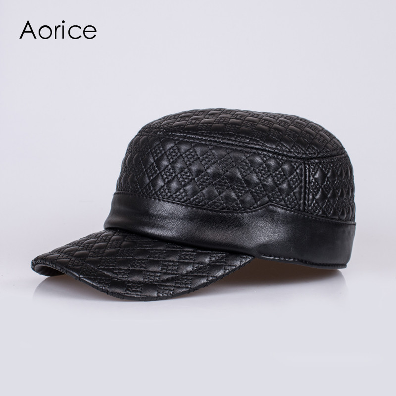 Aorice Winter Genuine Leather Baseball Cap/Hat Brand New Men'S Real Leather Adjustable Army Caps/Hats With 2 Colors HL068 princess hat skullies new winter warm hat wool leather hat rabbit hair hat fashion cap fpc018