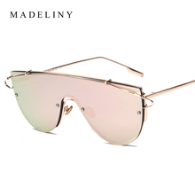 2016 Newest Fashion Oversized Frame Women Sunglasses Brand Design Coating Mirror Men Sun Glasses Shades Oculos De Sol MA189