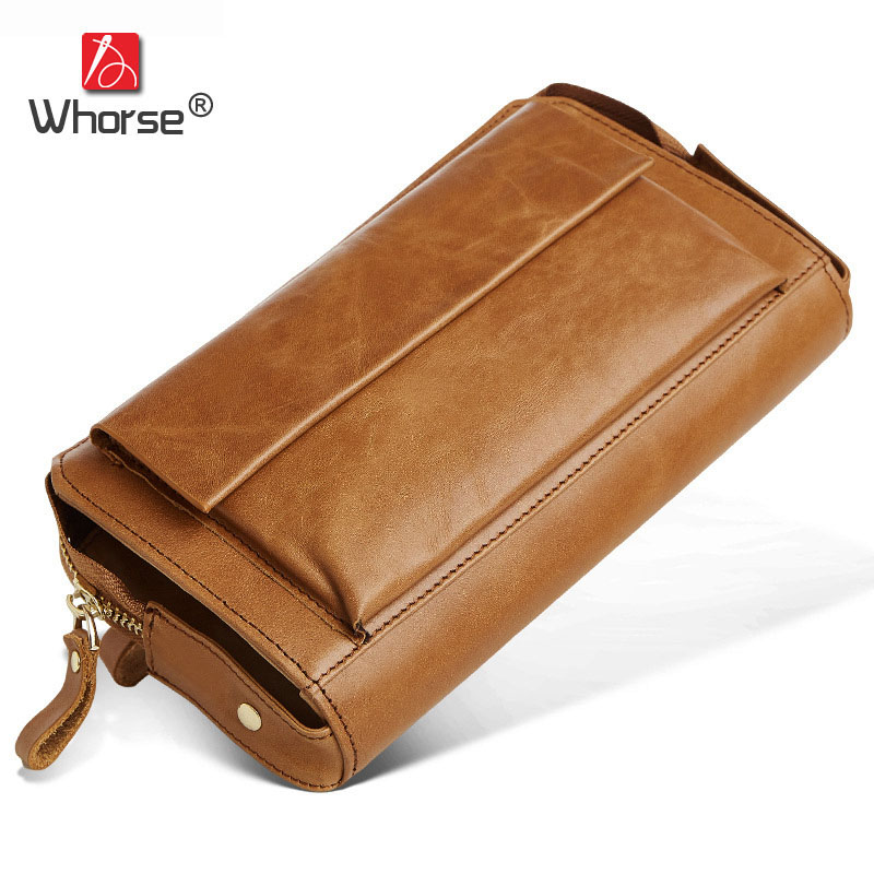 Famous Brand Vintage High capacity Men Wallet Genuine Leather Long Zipper Wallets Oil Wax Cowhide Mens Clutch Bag Purse W9332 simline vintage genuine cow leather cowhide mens men long double zipper wallet purse wallets card holder clutch bag bags for man