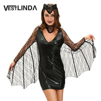 VESTLINDA Bat Cosplay Suit Long Sleeve Black Faux Leather Sheath Bodycon Dress Halloween Costume Women Sexy