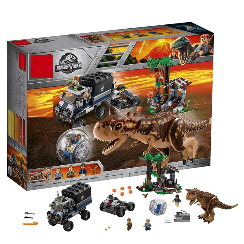 Compatible with legoing 75929 648pcs Jurassic World Carnotaurus Gyrosphere Escape Model Building Block Toys For Children Gifts