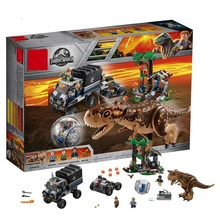 где купить Sermoido 75929 648pcs Jurassic World Carnotaurus Gyrosphere Escape Model Building Block Toys For Children Gifts дешево