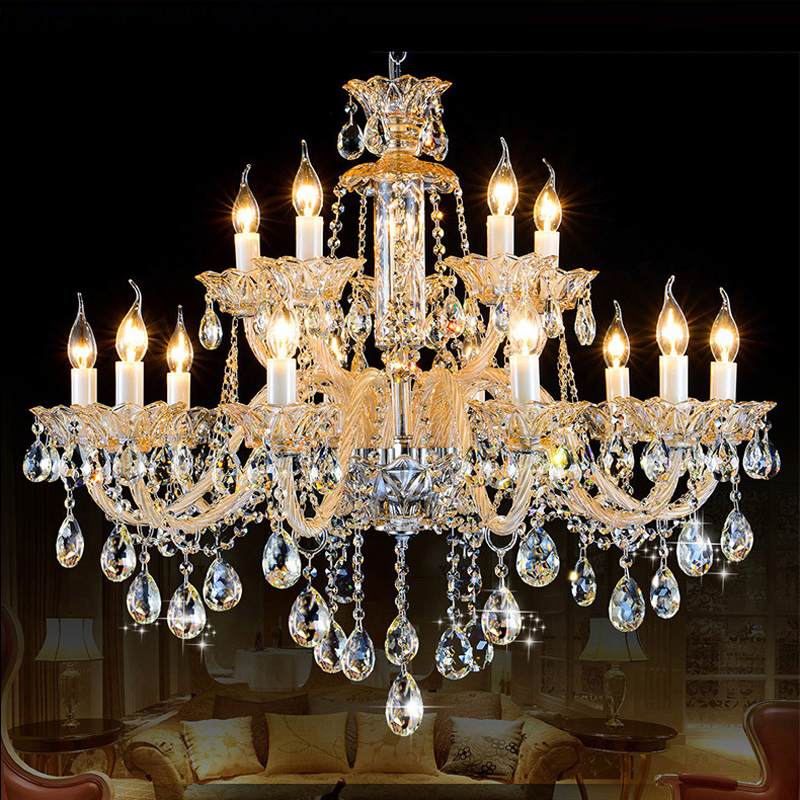 Antique candle chandeliers champagne crystal chandelier for Modern crystal chandelier for dining room