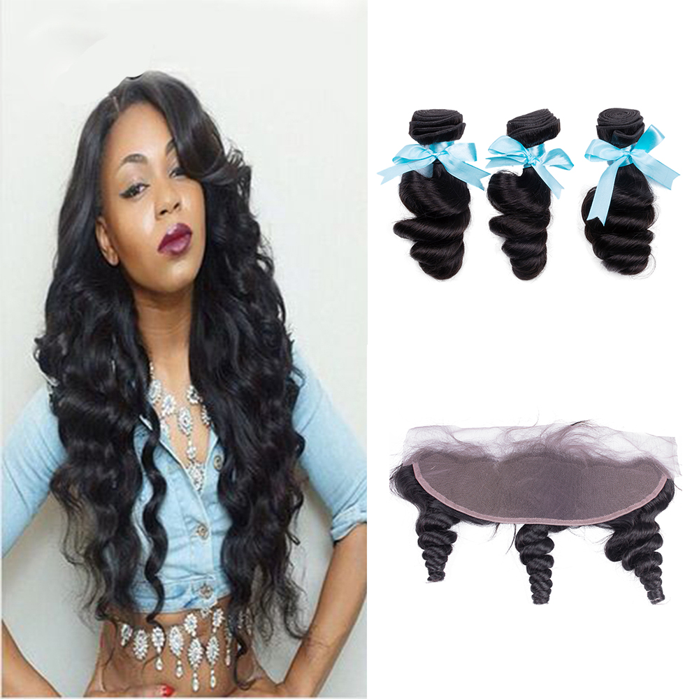 Sevengirls Peruvian Loose Wave 10-28 Inch Bundles With Frontal Grade 10A Natural Color Human Hair 3 Bundles With 13*4 Frontal