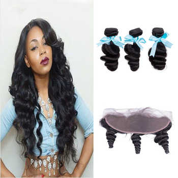 Sevengirls Peruvian Loose Wave 10-28 Inch Bundles With Frontal Grade 10A Natural Color Human Hair 3 Bundles With 13*4 Frontal - DISCOUNT ITEM  49% OFF All Category