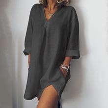 Cotton Linen Dress Plus Size Summer Autumn Solid Casual V Neck Femme Ladies Maxi Straight Mini Hem Loose Female H30