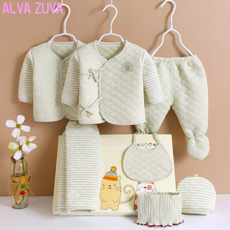 ALVA ZUVA 100%Cotton Infant Baby Clothes Thick Newborn Gift Box Sets 0-3 Months Autunm/Winter For Full-Moon Baby Clothing Cyf012 ...