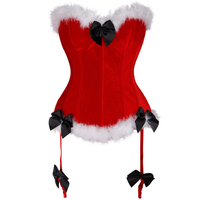 Women S Corset Bustier For Christmas Costumes Mrs Santa Lingerie Top Bustier Red Claus Dress