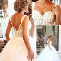 Elegant Sleeveless Arabic Ball Gown Bride Dress Luxury Pearl Beading Sexy Backlesss Muslim Wedding Dress Robe Mariage