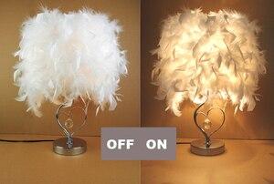 Image 4 - Прикроватная лампа для чтения фойе, гостиная, в форме сердца, с белыми перьями, Хрустальная настольная лампа, светильник
