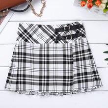 e9f56c962cb74 Japanese School Uniform Teens Kids Tartan Pleated Kilt Cheerleading Skirt  Girls Leather Buckled Straps Skirt Class Skirts
