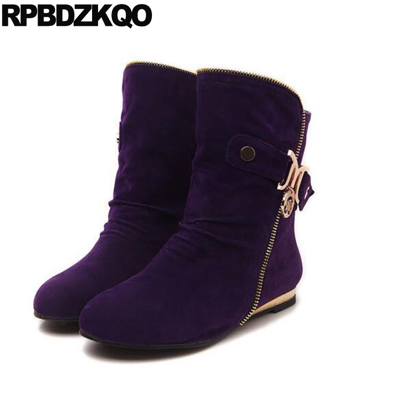 Flat Slip On Mid Calf Fur Casual Plus Size Wedge Round Toe Women Boots Winter 2017 Shoes Metal Big Purple 10 Chinese Ladies new arrival women shoes comfortable patnet leather round toe slip on for women mid calf boots side zipper lady punk shoes red