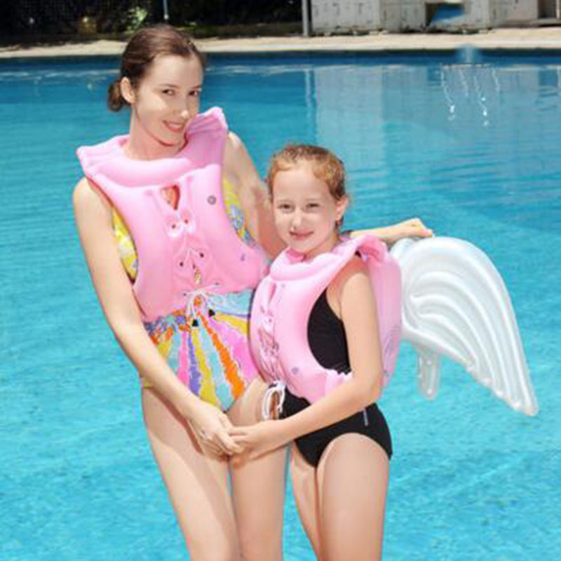2018 Newest Angel Design Children's Swimsuits Girls And Boys Inflatable Life Jackets Kids Swimming Equipment Floating Swim Vest