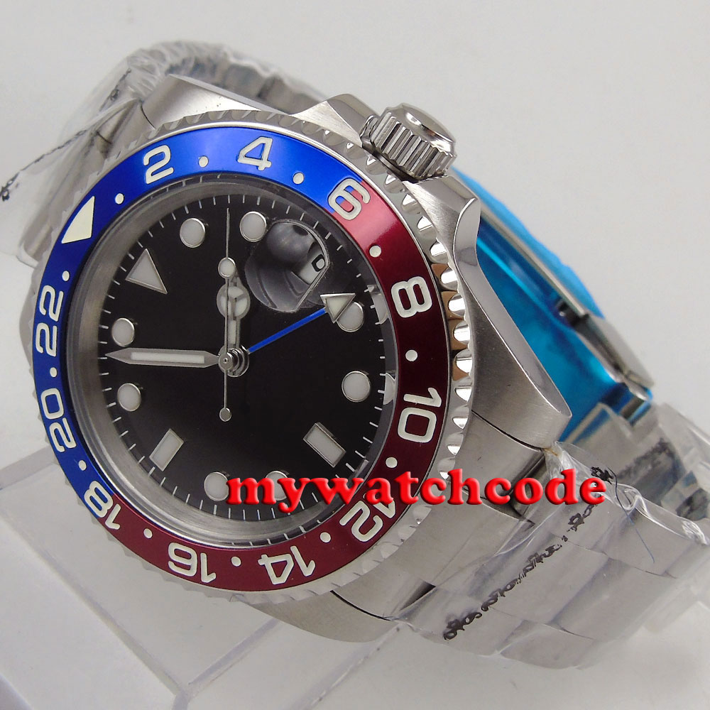 40mm bliger red blue bezel black dial GMT sapphire glass automatic mens watch P175 коньки onlitop 223f 37 40 blue 806164