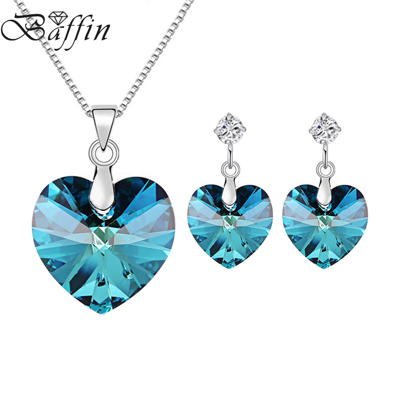 BAFFIN Romantic Jewelry Sets Original Crystals From SWAROVSKI Heart Pendant Necklace Earrings For Women Girls Gift stylish rhinestoned heart faux crystals beads tassel pendant necklace for women