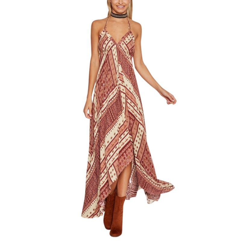 Summer Women Halter Vintage Ethnic Bohemian Long Dress Brand Sexy V-Neck Printed Casual Beach Boho Maxi Dresses B9