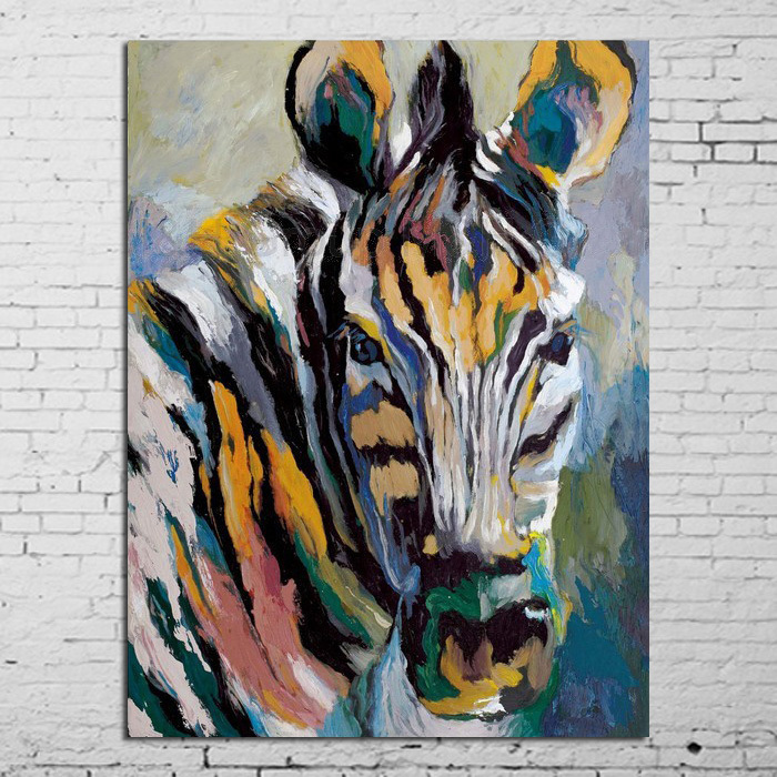 Quelle couleur sous les rayures ? 100-Of-Hand-painted-Oil-Painting-Zebra-Horse-In-All-Modern-Abstract-Art-Family-Adornment-Art