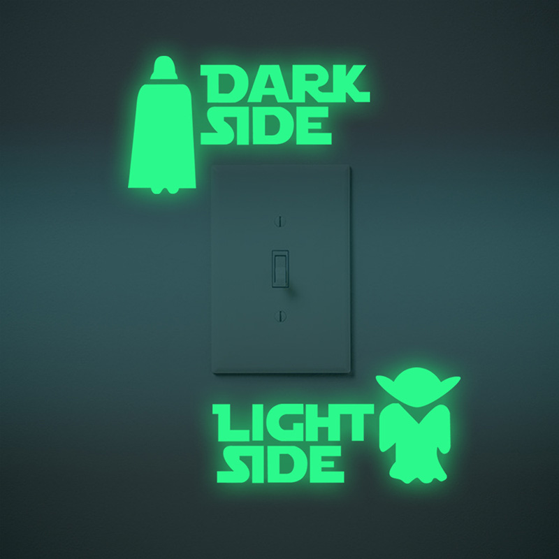 star wars dark side and light side vinyl decoration in luminous mode