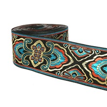 ZERZEEMOOY 2 5CM OR 3.3CM 10 YARD Woven Jacquard Ribbon Trims Geometric Totem Pattern For Curtain And Clothing Accessory
