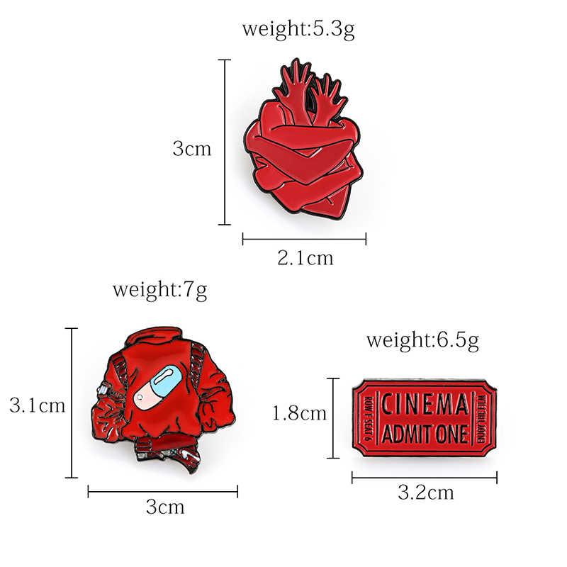 Jaket Merah Bros Pil Kapsul Obat Pola Merah Tiket Film Enamel Pin Ransel Pakaian Denim Lencana Tangan Dingin Pelukan Jantung bros