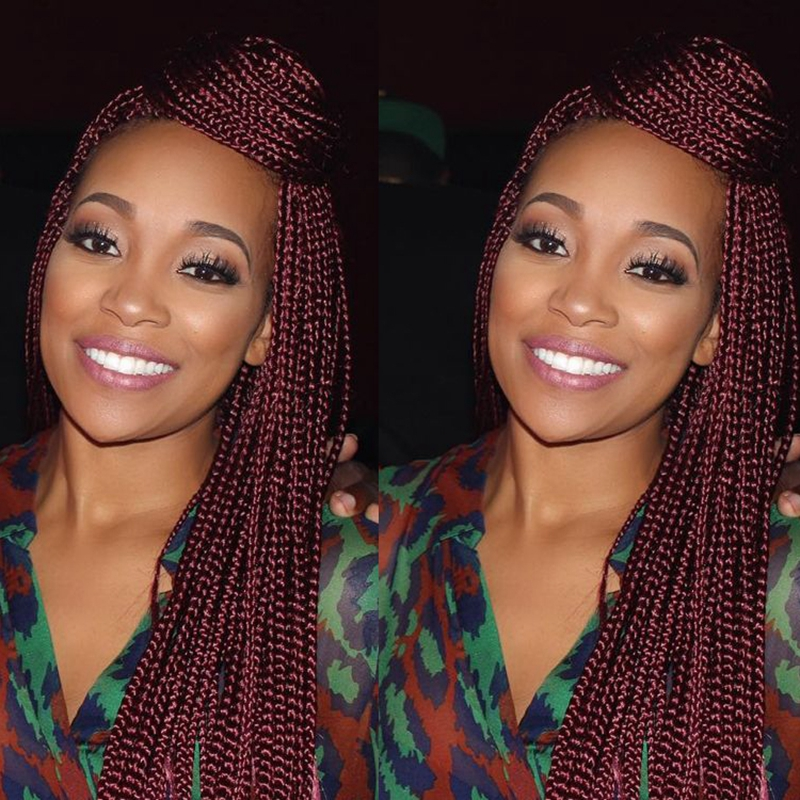 #99J Dark Burgundy Braids Wig High Quality Synthetic Lace Front Hair Braided Lace Front Wig Kinky Twist Braiding Hair Wigs