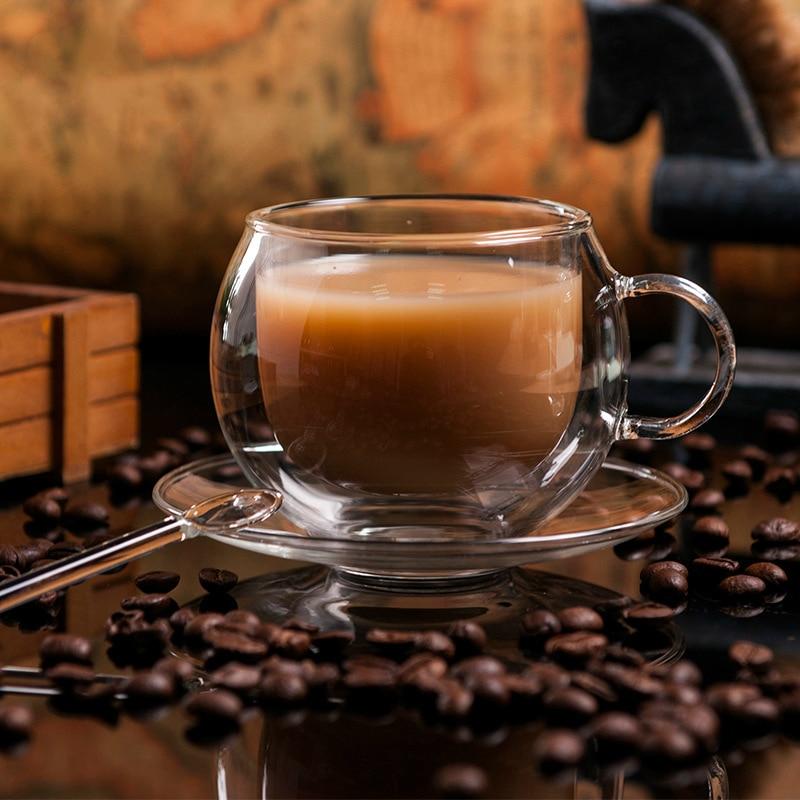 Denmark Bodum Pavina Design European Coffee Copa Double Layer Clear Cups Saucers tea milk cup 220ml Drinkware Xicaras|cup saucer|clear cuptea saucer | АлиЭкспресс