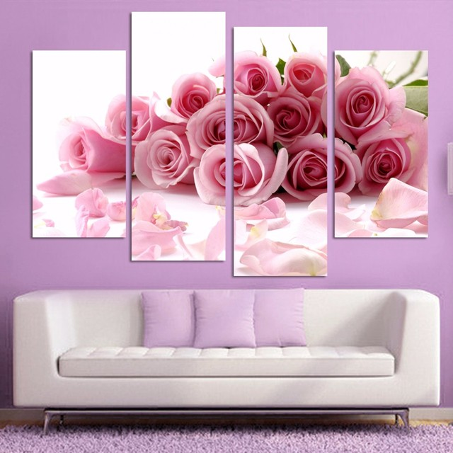 Pink Rose Canvas Painting Home Decor Modern Oil Paintings For Living ...