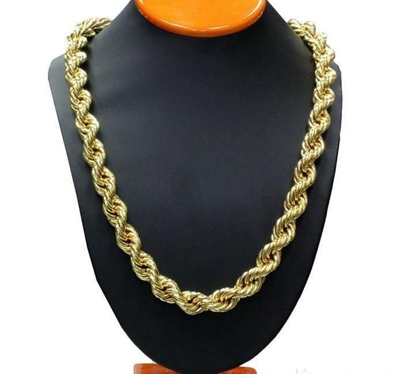 Арқан тізбегі Сары алтынмен толтырылған, бұралған әйел еркектер ожерельді тізбек 23.6 «