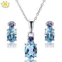 Hutang Doğal Mavi Topaz & Tanzanit Katı 925 Ayar Gümüş Takı Setleri Küpe & Kolye kadın Taş Takı
