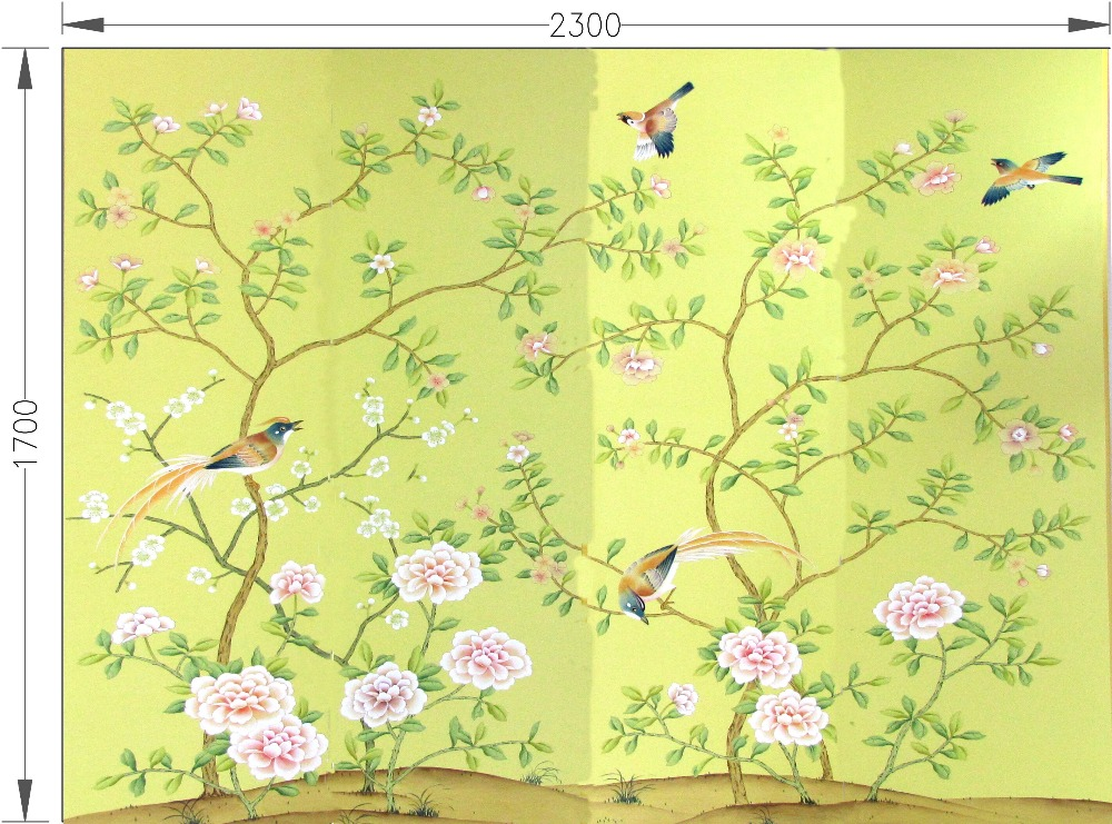 Classic style elegant Hand-painted silk wallpaper painting flowers with birds wallcovering many patterns and background optionalClassic style elegant Hand-painted silk wallpaper painting flowers with birds wallcovering many patterns and background optional