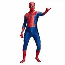 3D Spider-man Homecoming Cosplay Kostým Muž Spandex Lycra Spiderman Zentai oblek s maskou Halloween Party Bodysuit