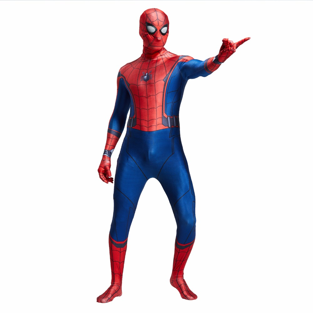3D Spider-man Homecoming Cosplay Costume Man Spandex Lycra Spiderman Zentai Suit with Mask Halloween Party Bodysuit