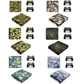 Camo Style Vinyl Game Protective Skin Sticker For Playstation 4 Decal Cover Sticker For PS4 Gaming Console +2 Controller