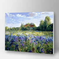 Peinture à numéros maison dans un champs de fleur 10