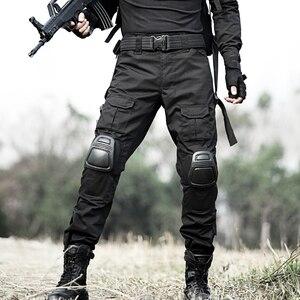 Image 2 - Taktik Pantolon Erkekler Askeri Kamuflaj Pantalon Kurbağa Kargo Pantolon Diz Pedleri Iş Pantolon Ordu Avcı SWAT Savaş Pantolon