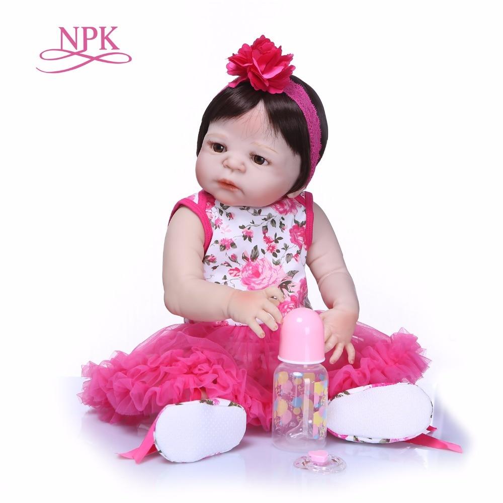 NPK 55 см реалистичные Reborn куклы младенца полный силикона Кукла реборн bebe Reborn реалиста сопровождающих игрушки куклы для девочек детей