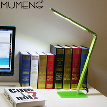 mumeng LED Desk Lamp Green Dimmable Table Light Folding Portable Office Laptop Fixture 7W Eye-care Reading Study Book Light