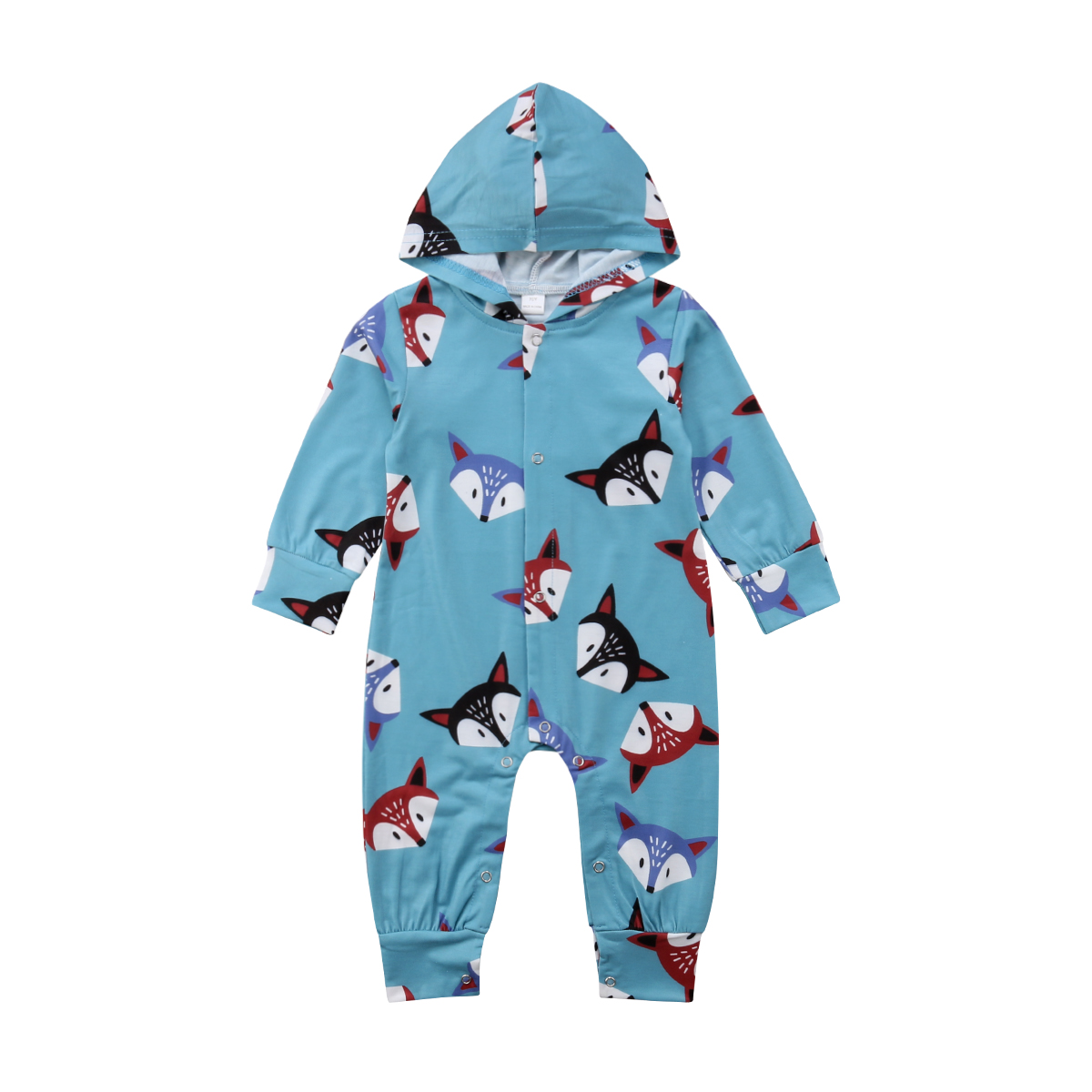 Newborn Baby   Rompers   Suits Baby Girls Boys Long Sleeve Cute Fox Print Hooded Jumpsuits New Winter Fall Infant Outfits Clothes