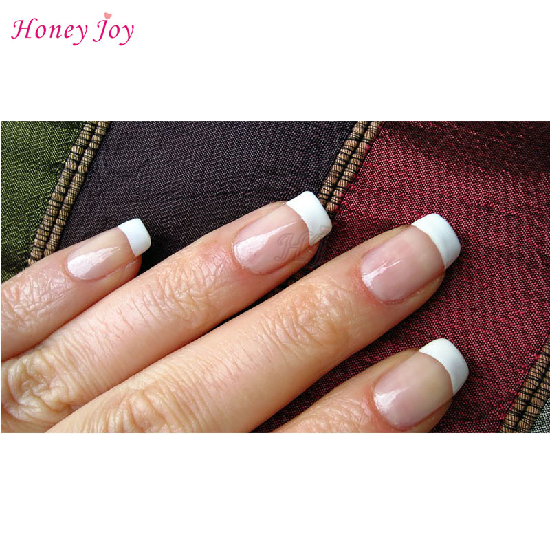 Easy French Tips Smile Line Pink & White Cut Nail Art UV Gel Acrylic ...