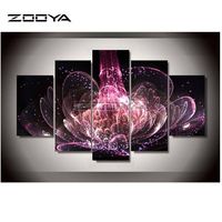 ZOOYA 5 PCS Sets Red Flowers 3d Diamond Painting Square Diy Diamond Drill Diamond Embroidery Cross