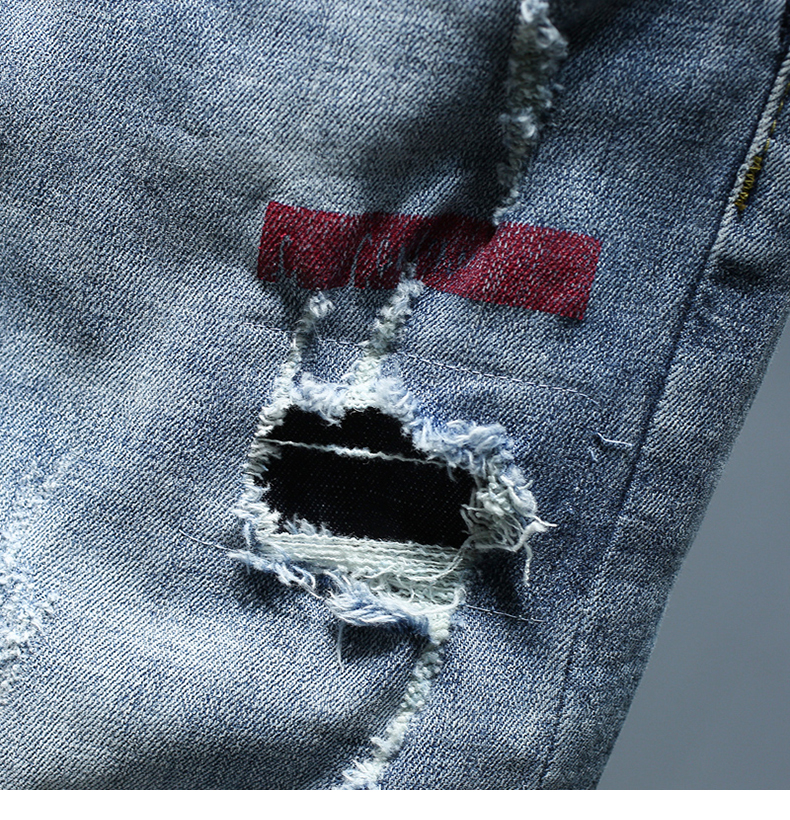 Mens Jeans Holes Frayed Ripped Light Blue Skinny Stretch Slim Leg Streetwear Paint Motor Biker